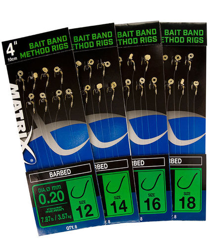 "Matrix 4"" Bait Band Method Rigs (barbed)"