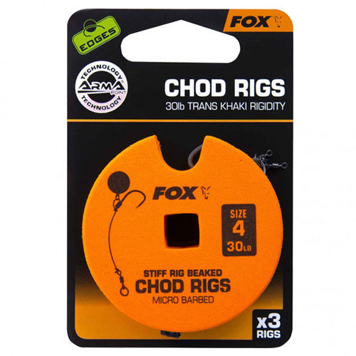 Fox EDGES™ 30lb, size 4 Standard Chod Rig Barbed