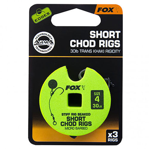Fox EDGES™ 30lb, size 4 Short Chod Rig Barbed